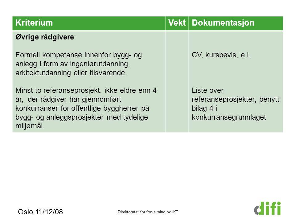Oslo 11/12/08 Direktoratet for forvaltning og IKT KriteriumVektDokumentasjon Øvrige rådgivere: Formell kompetanse innenfor bygg- og anlegg i form av ingeniørutdanning, arkitektutdanning eller tilsvarende.