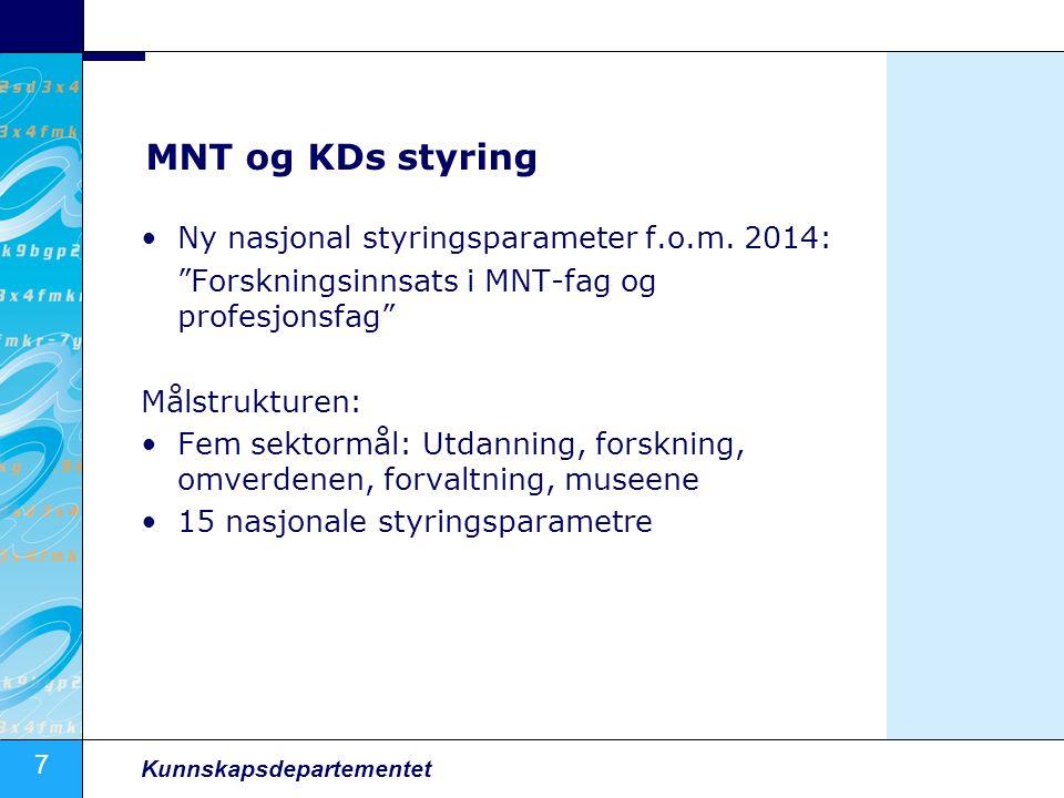 7 Kunnskapsdepartementet MNT og KDs styring Ny nasjonal styringsparameter f.o.m.