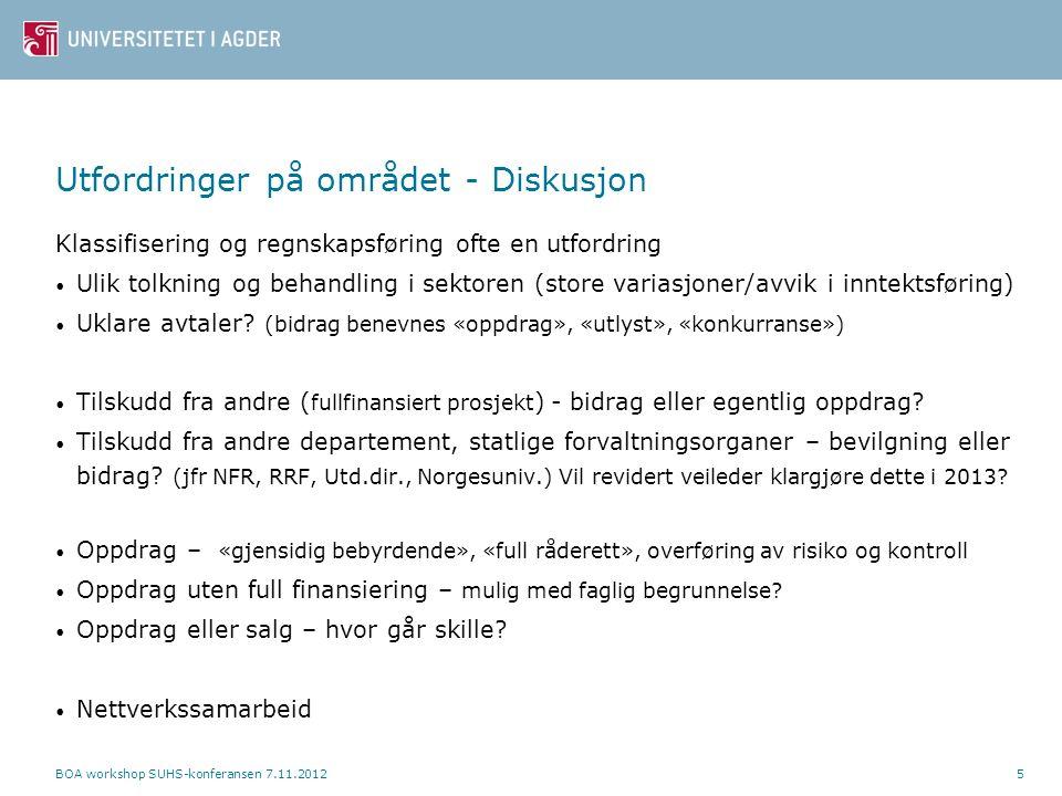 Utfordringer - fortsettelse Dokumentasjonskrav - «Faglig interesse» - Mva-vurdering - Vurdering klassifikasjon Eksempler på prosjekter hvor klassifisering kan være en utfordring (ved Kjetil) BOA workshop SUHS-konferansen 7.11.20126