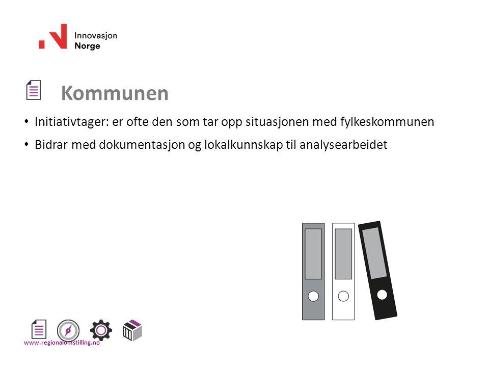 Kommunen Initiativtager: er ofte den som tar opp situasjonen med fylkeskommunen Bidrar med dokumentasjon og lokalkunnskap til analysearbeidet www.regi