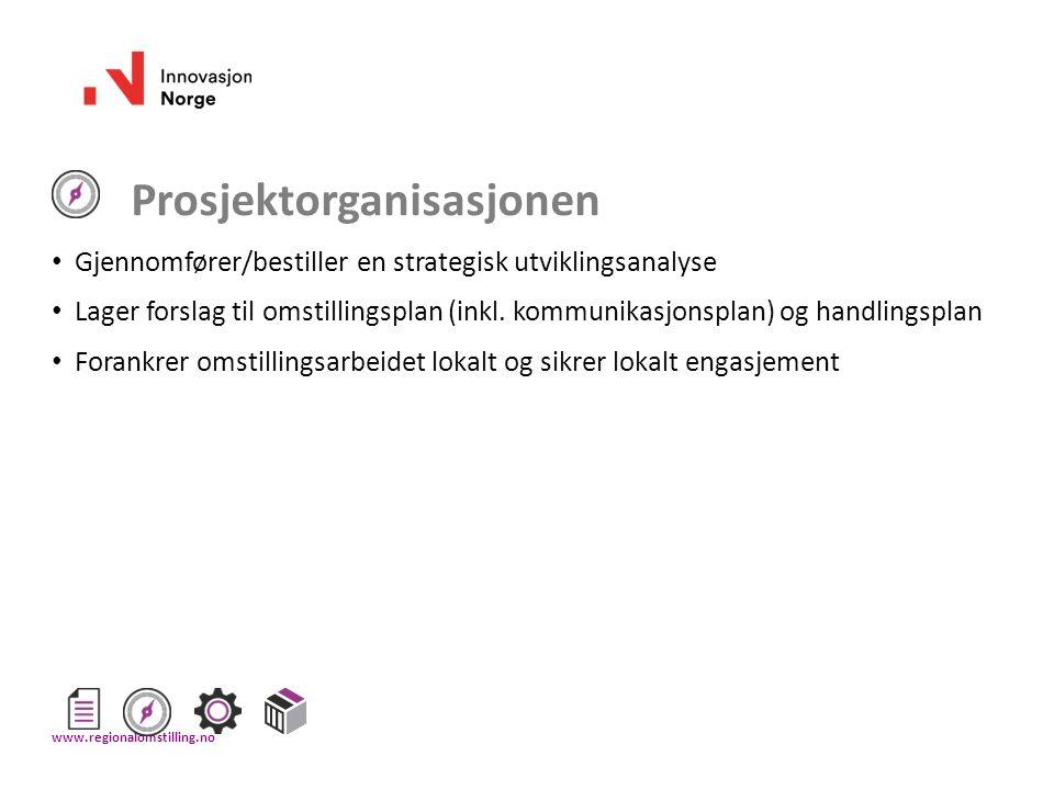 Prosjektorganisasjonen Gjennomfører/bestiller en strategisk utviklingsanalyse Lager forslag til omstillingsplan (inkl. kommunikasjonsplan) og handling