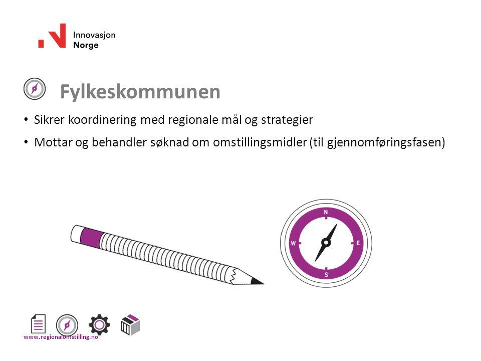 Fylkeskommunen Sikrer koordinering med regionale mål og strategier Mottar og behandler søknad om omstillingsmidler (til gjennomføringsfasen) www.regio