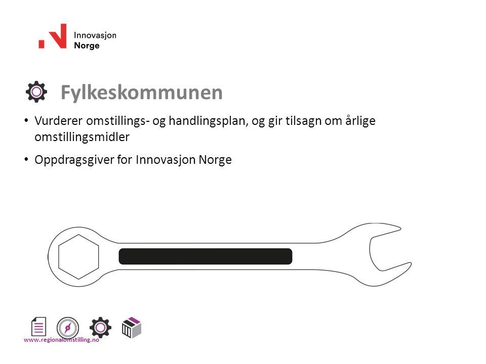 Fylkeskommunen Vurderer omstillings- og handlingsplan, og gir tilsagn om årlige omstillingsmidler Oppdragsgiver for Innovasjon Norge www.regionalomsti