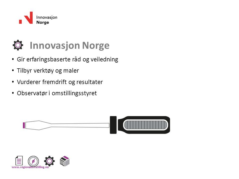 Innovasjon Norge Gir erfaringsbaserte råd og veiledning Tilbyr verktøy og maler Vurderer fremdrift og resultater Observatør i omstillingsstyret www.re