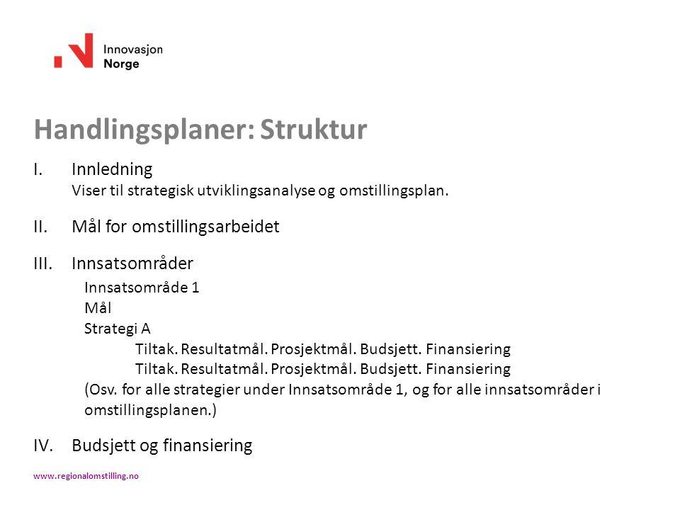 Handlingsplaner: Struktur I.Innledning Viser til strategisk utviklingsanalyse og omstillingsplan. II.Mål for omstillingsarbeidet III.Innsatsområder In