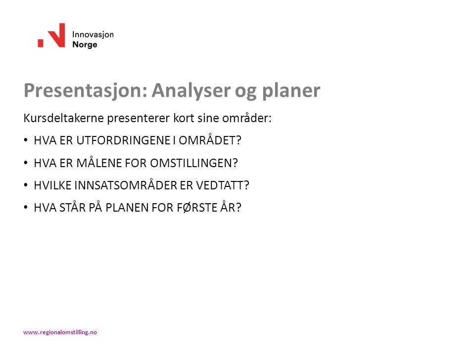 Presentasjon: Analyser og planer Kursdeltakerne presenterer kort sine områder: HVA ER UTFORDRINGENE I OMRÅDET? HVA ER MÅLENE FOR OMSTILLINGEN? HVILKE