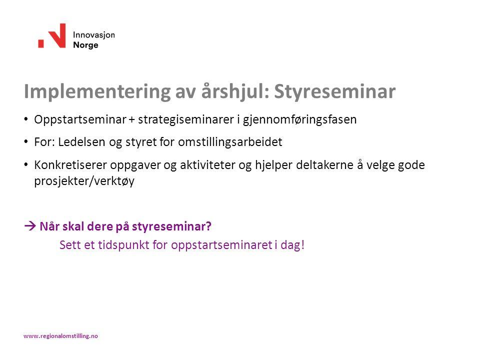 Implementering av årshjul: Styreseminar Oppstartseminar + strategiseminarer i gjennomføringsfasen For: Ledelsen og styret for omstillingsarbeidet Konk