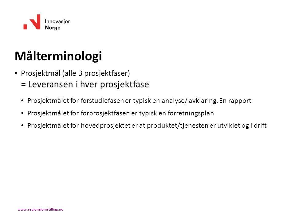 Målterminologi Prosjektmål (alle 3 prosjektfaser) = Leveransen i hver prosjektfase Prosjektmålet for forstudiefasen er typisk en analyse/ avklaring. E