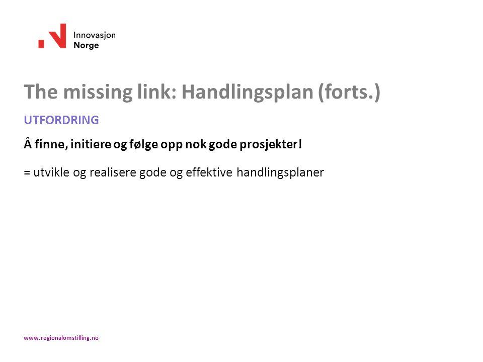 The missing link: Handlingsplan (forts.) UTFORDRING Å finne, initiere og følge opp nok gode prosjekter! = utvikle og realisere gode og effektive handl