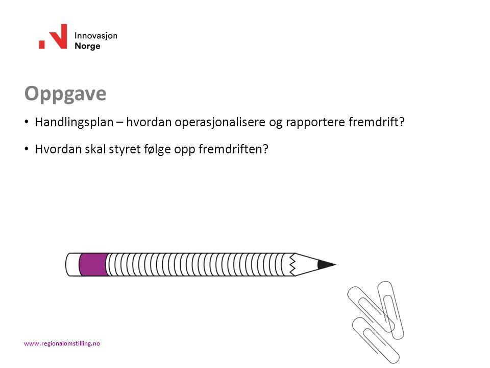 Oppgave Handlingsplan – hvordan operasjonalisere og rapportere fremdrift? Hvordan skal styret følge opp fremdriften? www.regionalomstilling.no