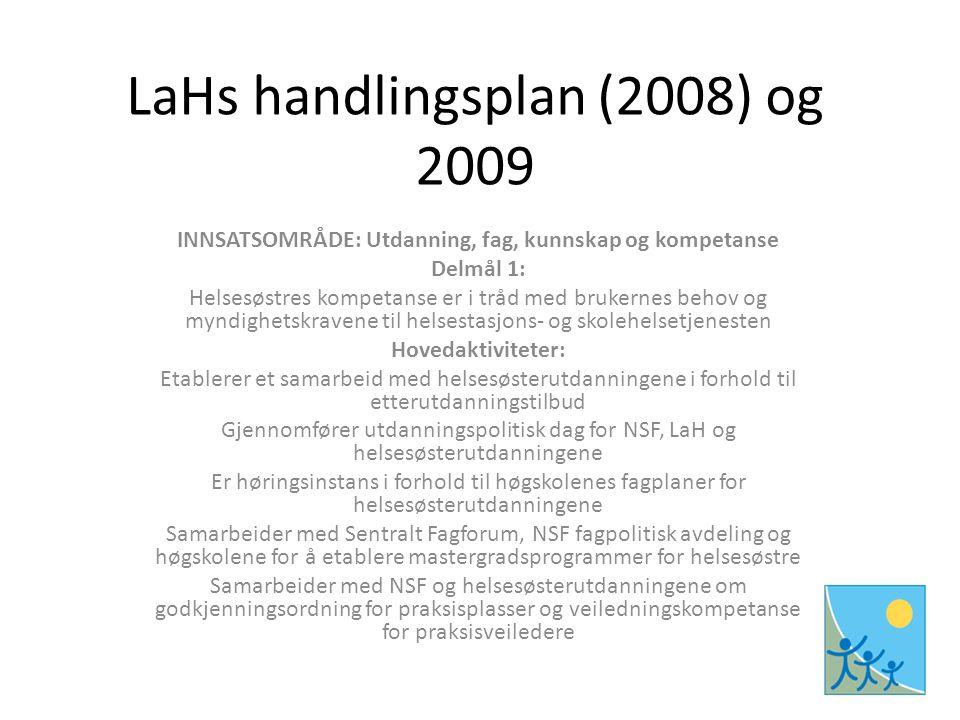 LaHs handlingsplan (2008) og 2009 INNSATSOMRÅDE: Utdanning, fag, kunnskap og kompetanse Delmål 1: Helsesøstres kompetanse er i tråd med brukernes behov og myndighetskravene til helsestasjons- og skolehelsetjenesten Hovedaktiviteter: Etablerer et samarbeid med helsesøsterutdanningene i forhold til etterutdanningstilbud Gjennomfører utdanningspolitisk dag for NSF, LaH og helsesøsterutdanningene Er høringsinstans i forhold til høgskolenes fagplaner for helsesøsterutdanningene Samarbeider med Sentralt Fagforum, NSF fagpolitisk avdeling og høgskolene for å etablere mastergradsprogrammer for helsesøstre Samarbeider med NSF og helsesøsterutdanningene om godkjenningsordning for praksisplasser og veiledningskompetanse for praksisveiledere