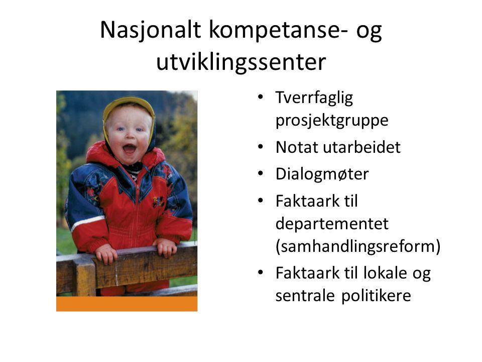 Nasjonalt kompetanse- og utviklingssenter Tverrfaglig prosjektgruppe Notat utarbeidet Dialogmøter Faktaark til departementet (samhandlingsreform) Fakt
