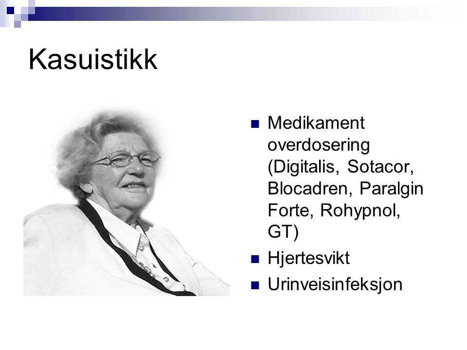 Kasuistikk Medikament overdosering (Digitalis, Sotacor, Blocadren, Paralgin Forte, Rohypnol, GT) Hjertesvikt Urinveisinfeksjon