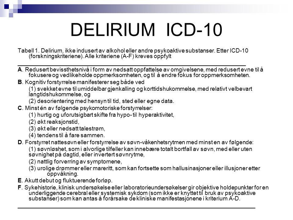 DELIRIUM ICD-10 Tabell 1. Delirium, ikke indusert av alkohol eller andre psykoaktive substanser.
