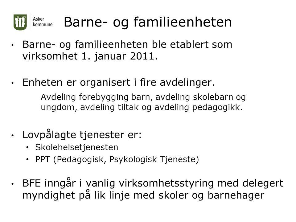 Barne- og familieenheten Barne- og familieenheten ble etablert som virksomhet 1.