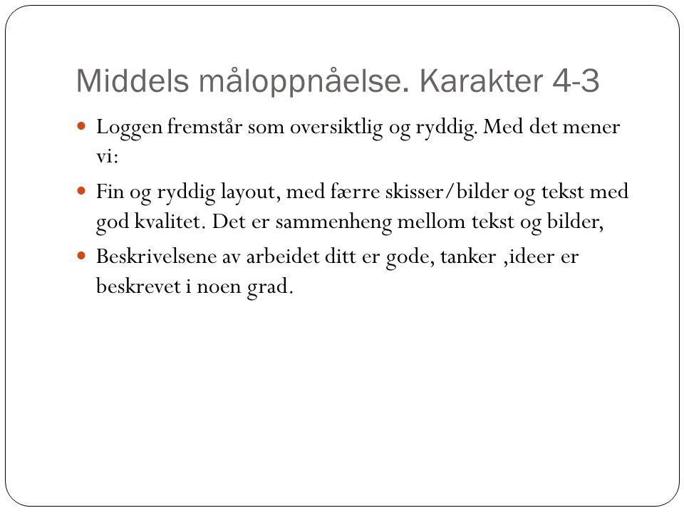 Middels måloppnåelse. Karakter 4-3 Loggen fremstår som oversiktlig og ryddig. Med det mener vi: Fin og ryddig layout, med færre skisser/bilder og teks