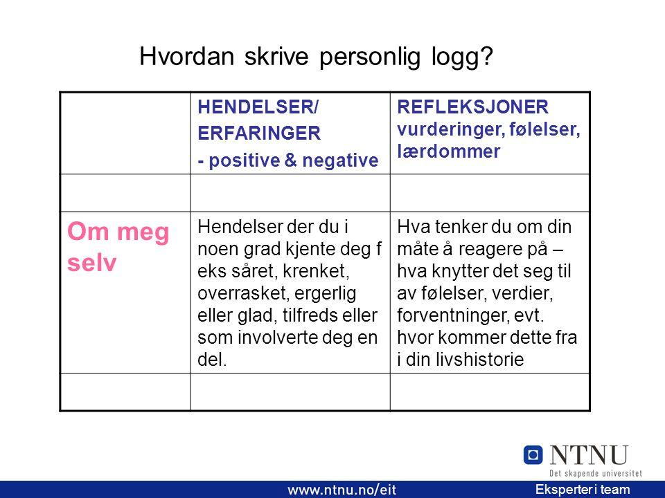 Hvordan skrive personlig logg? 2 EiT 2006/2007 Eksperter i team HENDELSER/ ERFARINGER - positive & negative REFLEKSJONER vurderinger, følelser, lærdom