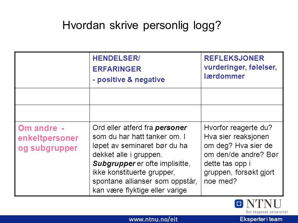 Hvordan skrive personlig logg? 4 EiT 2006/2007 Eksperter i team HENDELSER/ ERFARINGER - positive & negative REFLEKSJONER vurderinger, følelser, lærdom