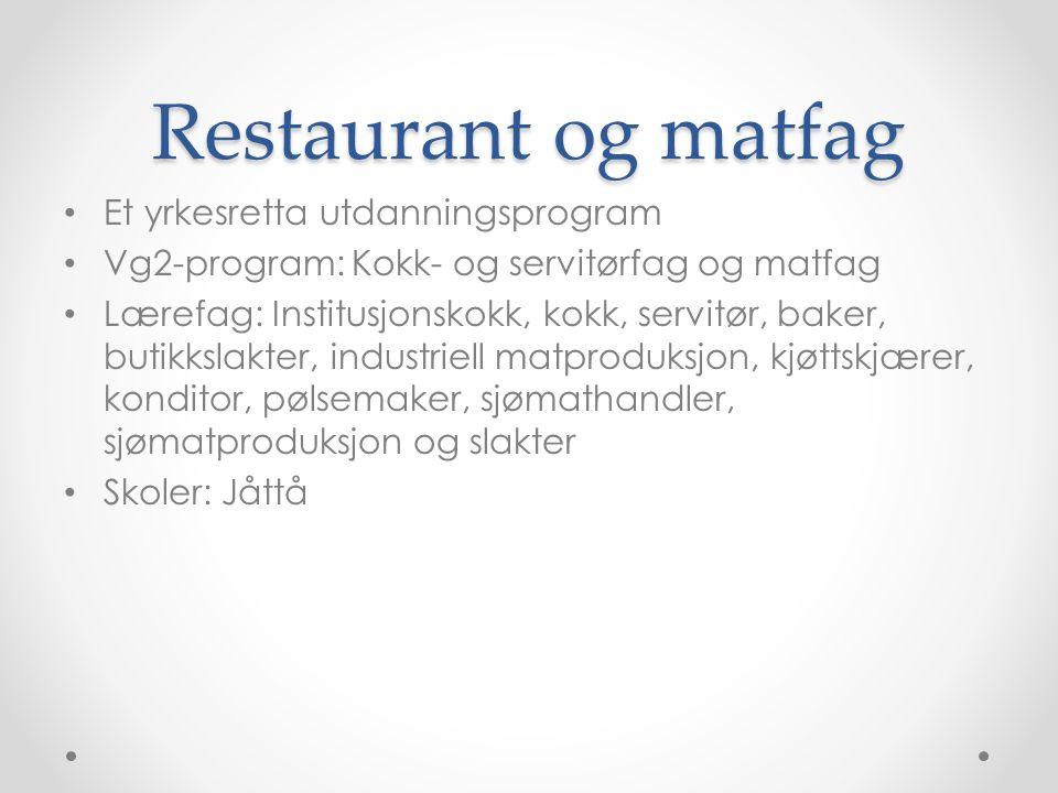 Restaurant og matfag Et yrkesretta utdanningsprogram Vg2-program: Kokk- og servitørfag og matfag Lærefag: Institusjonskokk, kokk, servitør, baker, but