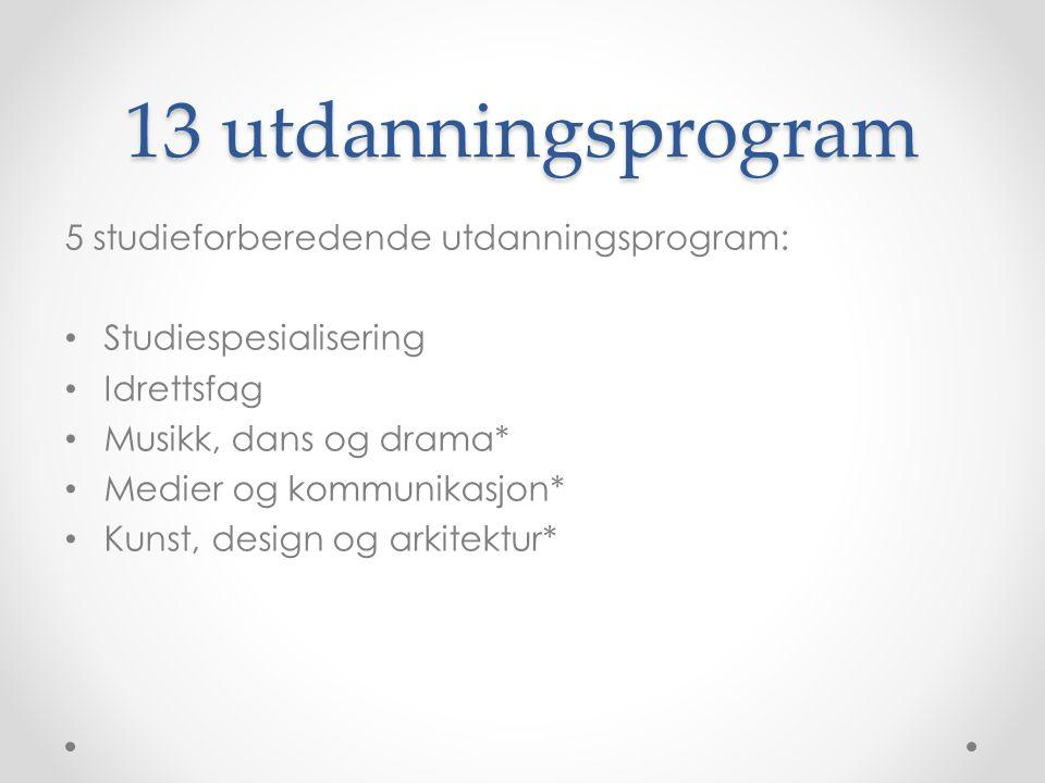 13 utdanningsprogram 5 studieforberedende utdanningsprogram: Studiespesialisering Idrettsfag Musikk, dans og drama* Medier og kommunikasjon* Kunst, de