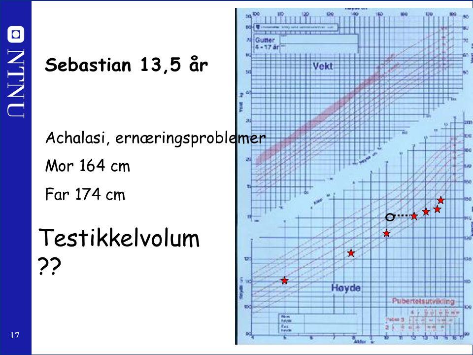 17 Sebastian 13,5 år Achalasi, ernæringsproblemer Mor 164 cm Far 174 cm Testikkelvolum