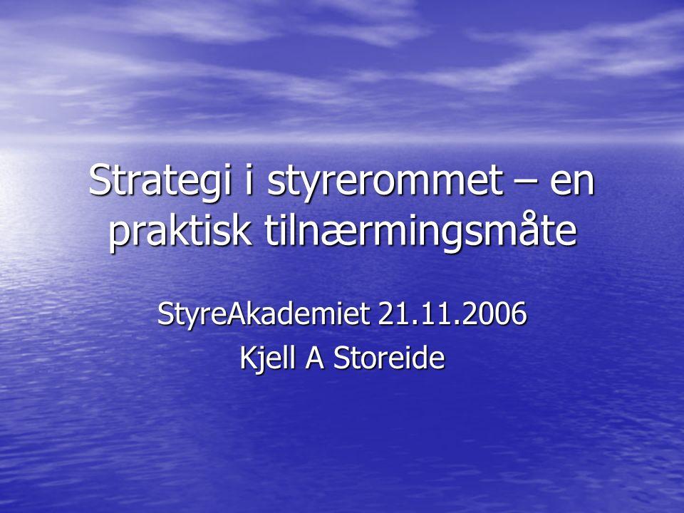 Strategi i styrerommet – en praktisk tilnærmingsmåte StyreAkademiet 21.11.2006 Kjell A Storeide