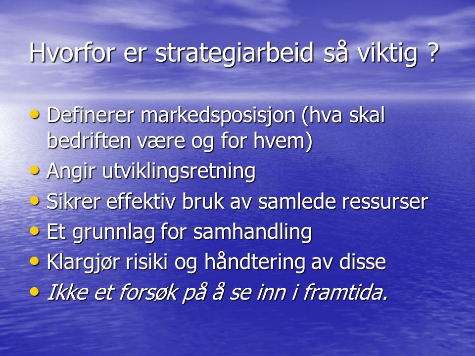 Hvorfor er strategiarbeid så viktig ? Definerer markedsposisjon (hva skal bedriften være og for hvem) Definerer markedsposisjon (hva skal bedriften væ