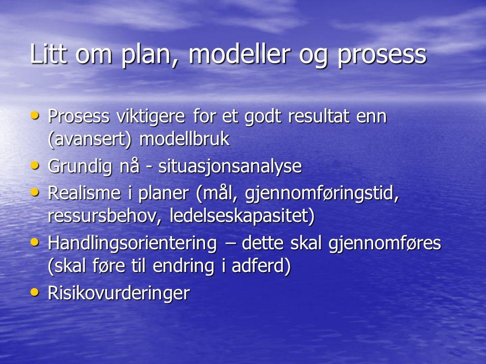 Litt om plan, modeller og prosess Prosess viktigere for et godt resultat enn (avansert) modellbruk Prosess viktigere for et godt resultat enn (avansert) modellbruk Grundig nå - situasjonsanalyse Grundig nå - situasjonsanalyse Realisme i planer (mål, gjennomføringstid, ressursbehov, ledelseskapasitet) Realisme i planer (mål, gjennomføringstid, ressursbehov, ledelseskapasitet) Handlingsorientering – dette skal gjennomføres (skal føre til endring i adferd) Handlingsorientering – dette skal gjennomføres (skal føre til endring i adferd) Risikovurderinger Risikovurderinger