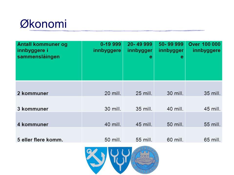 Økonomi Antall kommuner og innbyggere i sammenslåingen 0-19 999 innbyggere 20- 49 999 innbygger e 50- 99 999 innbygger e Over 100 000 innbyggere 2 kommuner20 mill.25 mill.30 mill.35 mill.