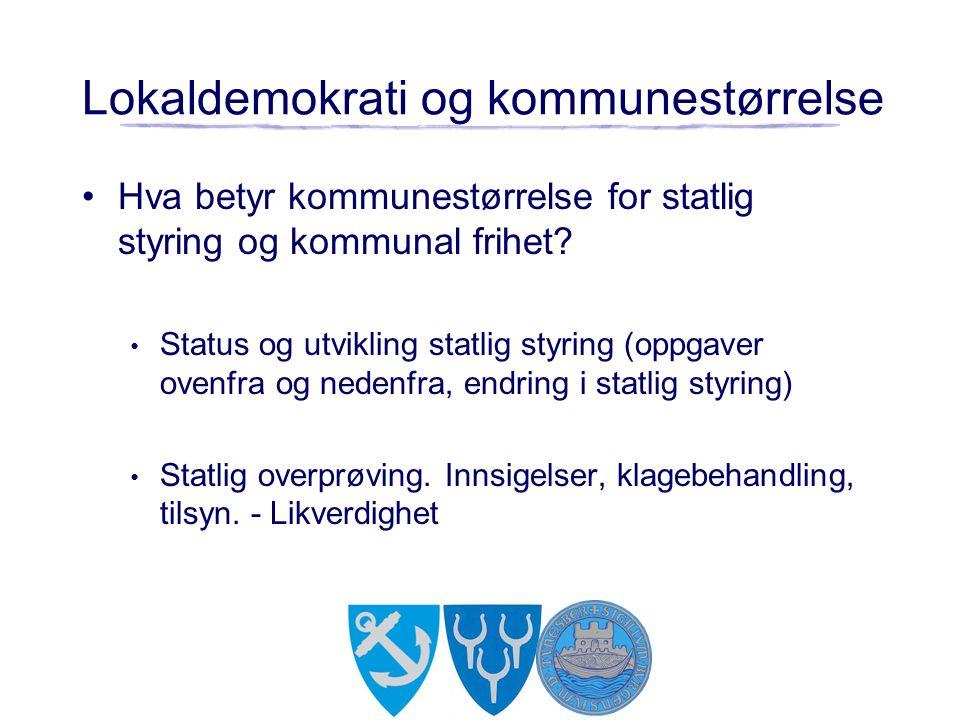 Lokaldemokrati og kommunestørrelse Hva betyr kommunestørrelse for statlig styring og kommunal frihet? Status og utvikling statlig styring (oppgaver ov