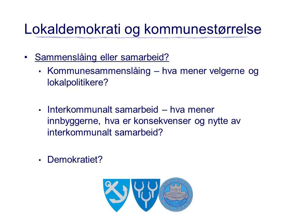 Lokaldemokrati og kommunestørrelse Sammenslåing eller samarbeid? Kommunesammenslåing – hva mener velgerne og lokalpolitikere? Interkommunalt samarbeid