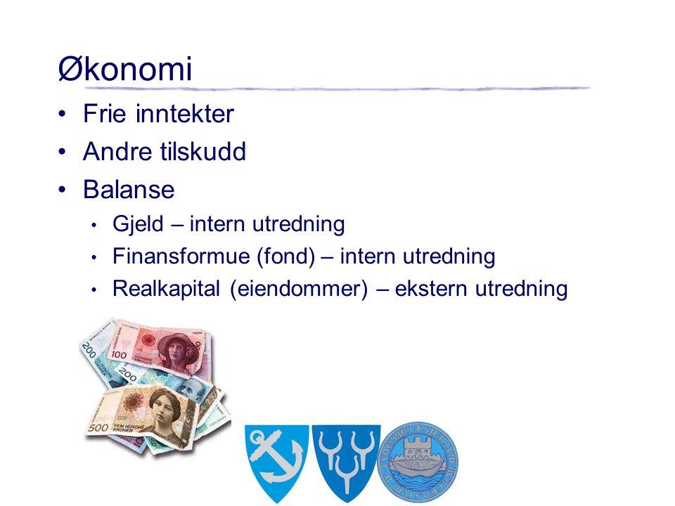 Økonomi Frie inntekter Andre tilskudd Balanse Gjeld – intern utredning Finansformue (fond) – intern utredning Realkapital (eiendommer) – ekstern utredning