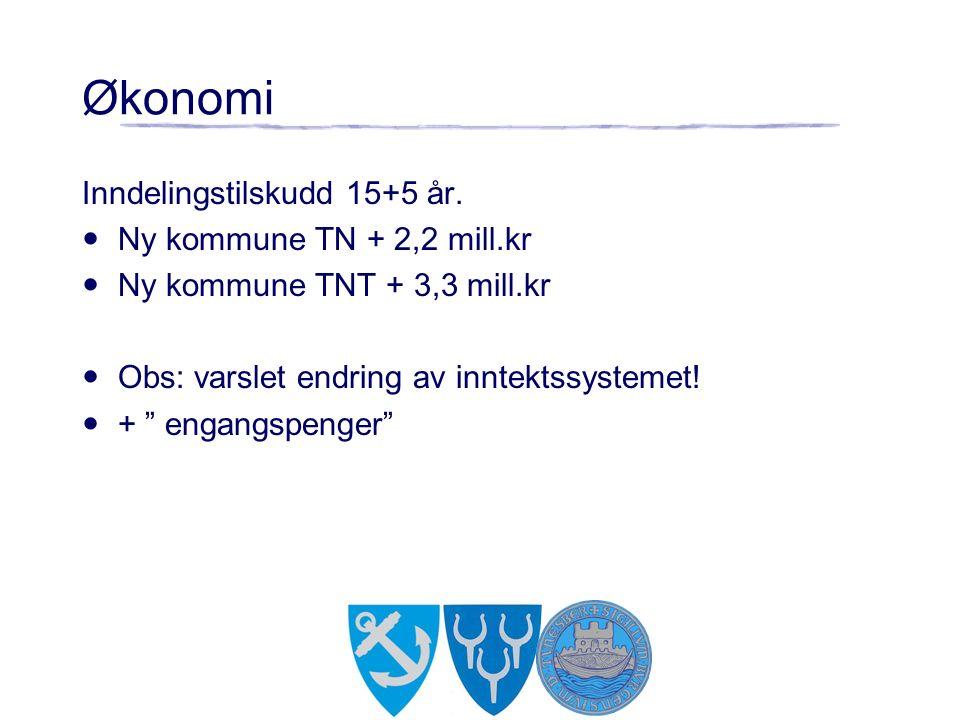 "Økonomi Inndelingstilskudd 15+5 år. Ny kommune TN + 2,2 mill.kr Ny kommune TNT + 3,3 mill.kr Obs: varslet endring av inntektssystemet! + "" engangspeng"