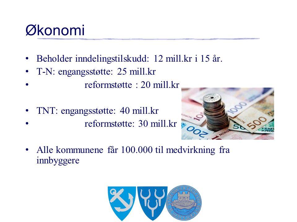 Økonomi Beholder inndelingstilskudd: 12 mill.kr i 15 år. T-N: engangsstøtte: 25 mill.kr reformstøtte : 20 mill.kr TNT: engangsstøtte: 40 mill.kr refor