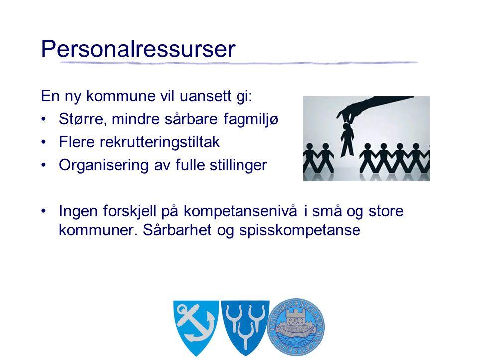 Personalressurser En ny kommune vil uansett gi: Større, mindre sårbare fagmiljø Flere rekrutteringstiltak Organisering av fulle stillinger Ingen forskjell på kompetansenivå i små og store kommuner.