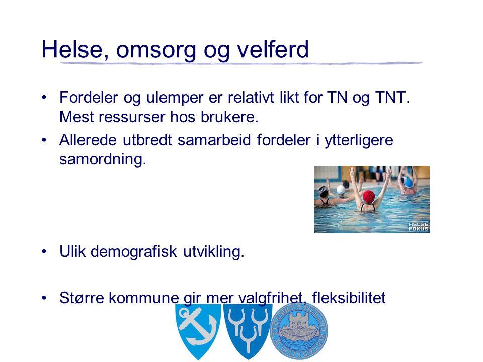 Helse, omsorg og velferd Fordeler og ulemper er relativt likt for TN og TNT. Mest ressurser hos brukere. Allerede utbredt samarbeid fordeler i ytterli