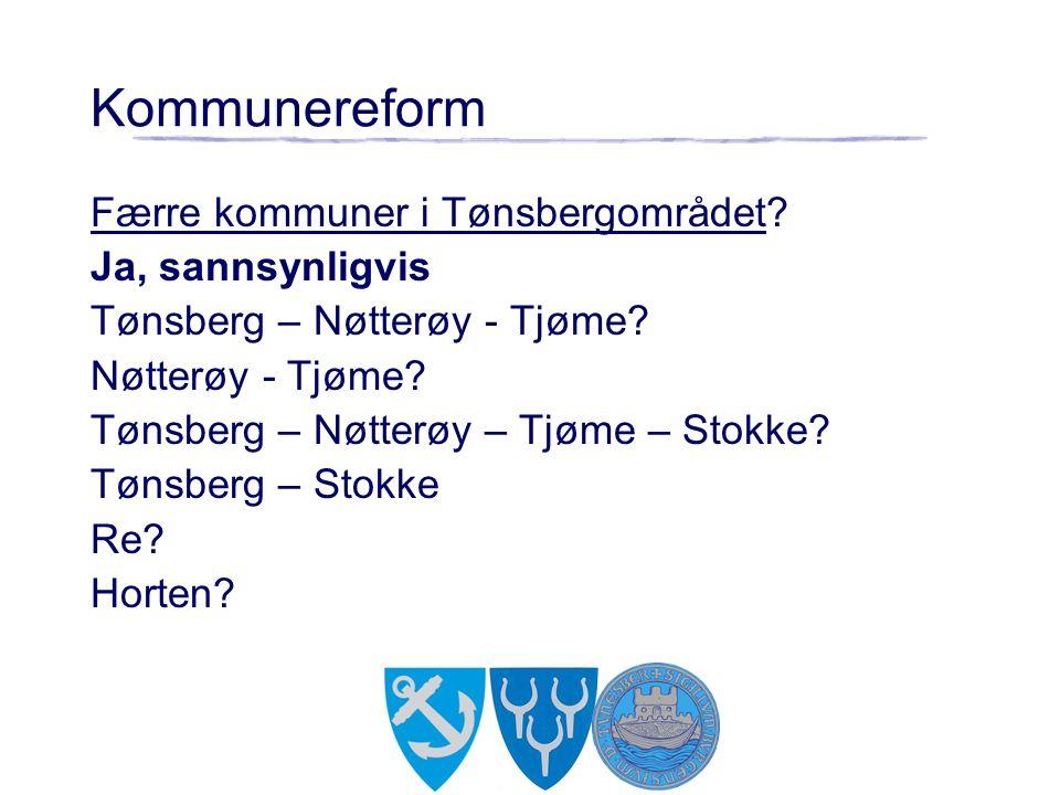 Færre kommuner i Tønsbergområdet? Ja, sannsynligvis Tønsberg – Nøtterøy - Tjøme? Nøtterøy - Tjøme? Tønsberg – Nøtterøy – Tjøme – Stokke? Tønsberg – St