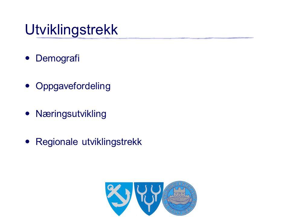 Utviklingstrekk Demografi Oppgavefordeling Næringsutvikling Regionale utviklingstrekk