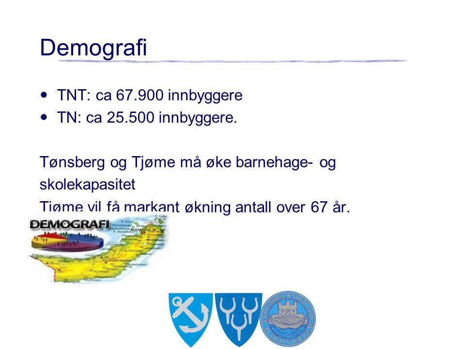 TNT: ca 67.900 innbyggere TN: ca 25.500 innbyggere. Tønsberg og Tjøme må øke barnehage- og skolekapasitet Tjøme vil få markant økning antall over 67 å