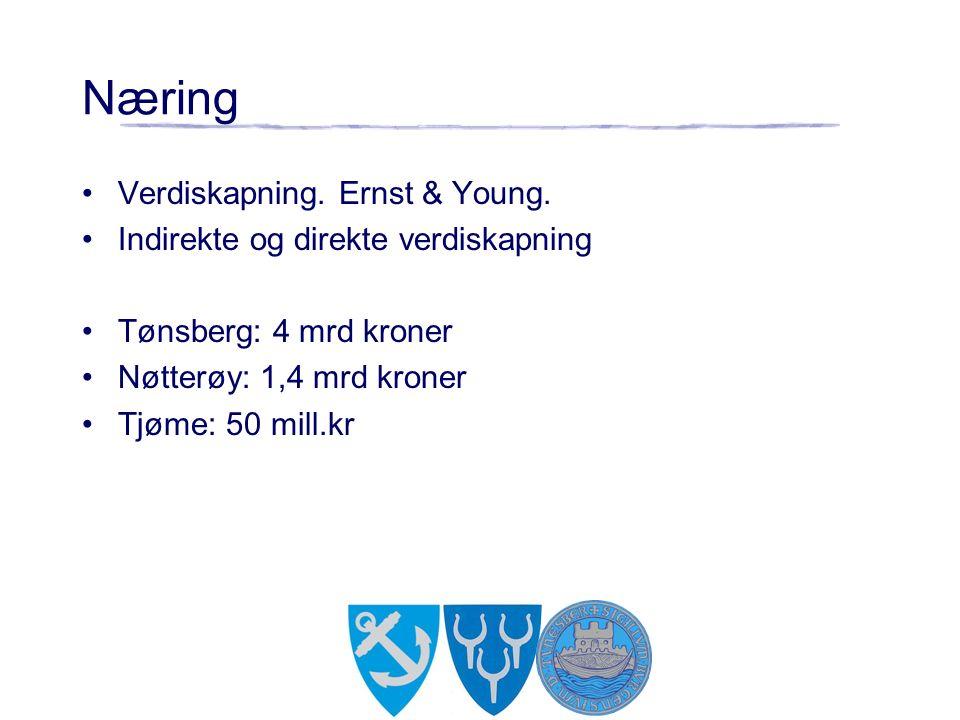 Næring Verdiskapning. Ernst & Young. Indirekte og direkte verdiskapning Tønsberg: 4 mrd kroner Nøtterøy: 1,4 mrd kroner Tjøme: 50 mill.kr