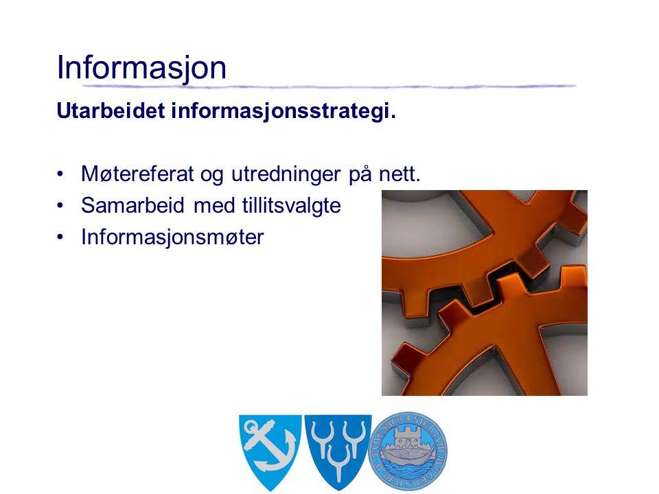 Informasjon Utarbeidet informasjonsstrategi. Møtereferat og utredninger på nett. Samarbeid med tillitsvalgte Informasjonsmøter
