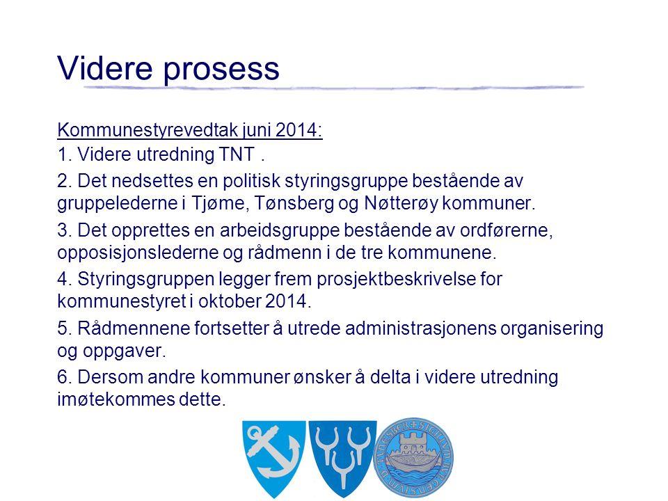 Kommunestyrevedtak juni 2014: 1. Videre utredning TNT. 2. Det nedsettes en politisk styringsgruppe bestående av gruppelederne i Tjøme, Tønsberg og Nøt