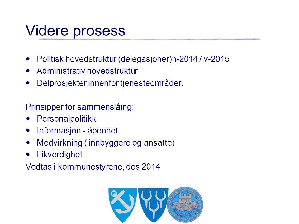 Videre prosess Politisk hovedstruktur (delegasjoner)h-2014 / v-2015 Administrativ hovedstruktur Delprosjekter innenfor tjenesteområder.