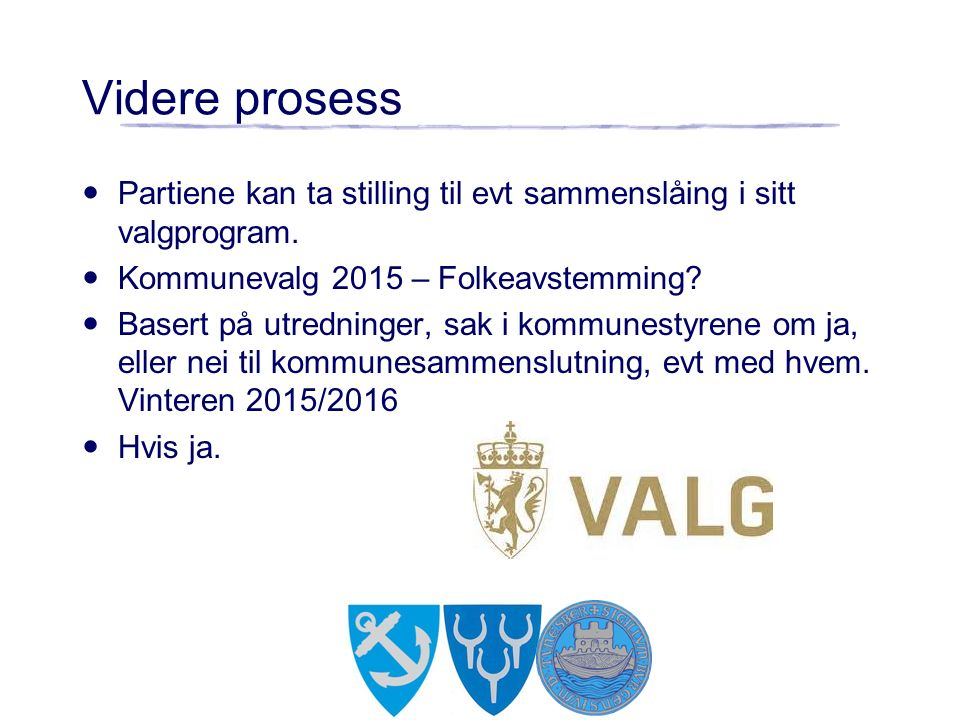 Videre prosess Partiene kan ta stilling til evt sammenslåing i sitt valgprogram.
