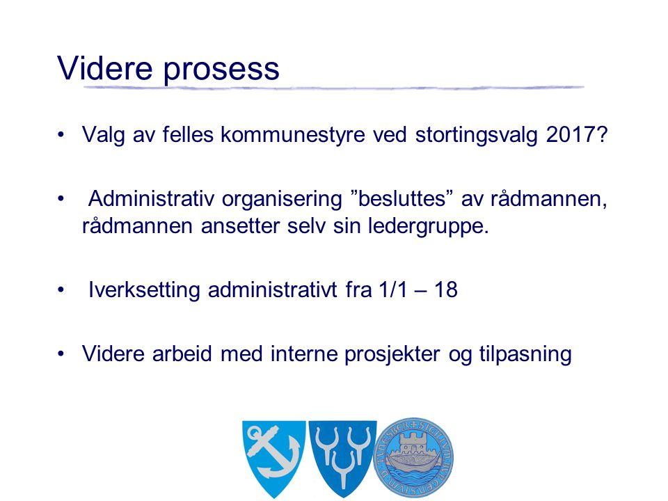 """Videre prosess Valg av felles kommunestyre ved stortingsvalg 2017? Administrativ organisering """"besluttes"""" av rådmannen, rådmannen ansetter selv sin le"""