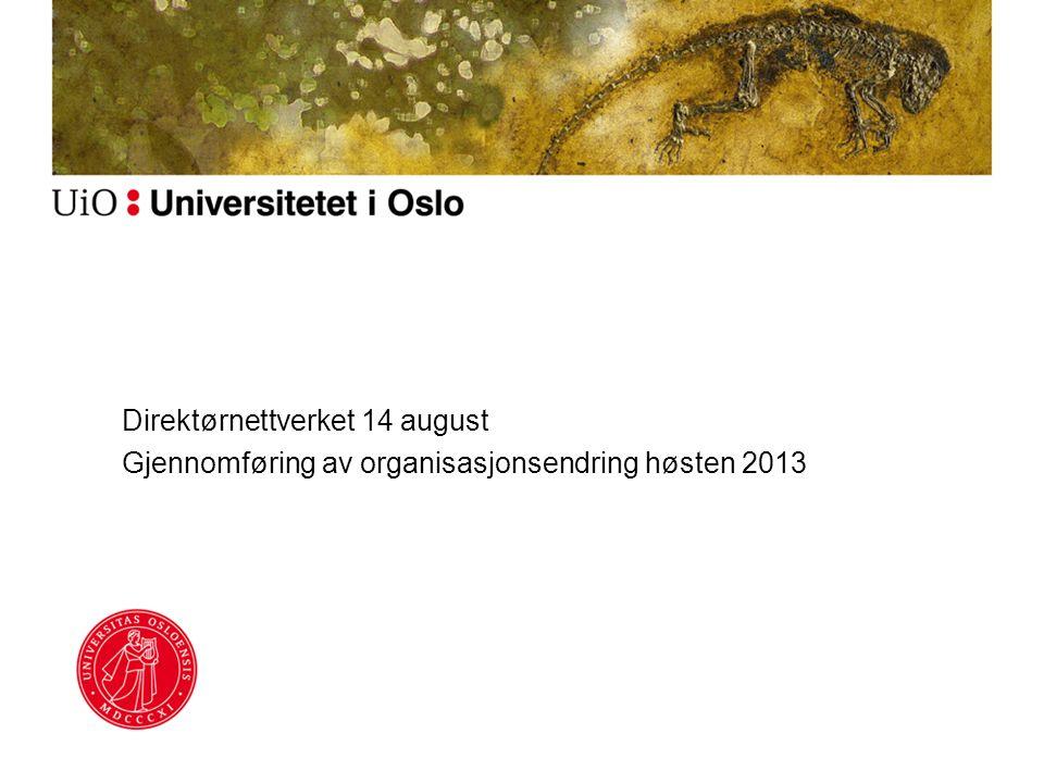 Direktørnettverket 14 august Gjennomføring av organisasjonsendring høsten 2013
