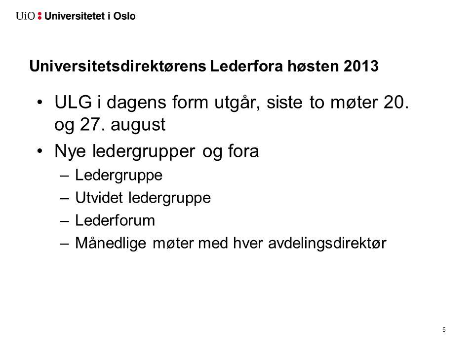 Universitetsdirektørens Lederfora høsten 2013 ULG i dagens form utgår, siste to møter 20. og 27. august Nye ledergrupper og fora –Ledergruppe –Utvidet