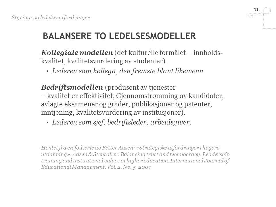 11 BALANSERE TO LEDELSESMODELLER Kollegiale modellen (det kulturelle formålet – innholds- kvalitet, kvalitetsvurdering av studenter).