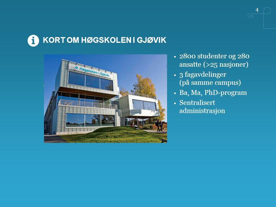 4  2800 studenter og 280 ansatte (>25 nasjoner)  3 fagavdelinger (på samme campus)  Ba, Ma, PhD-program  Sentralisert administrasjon KORT OM HØGSKOLEN I GJØVIK