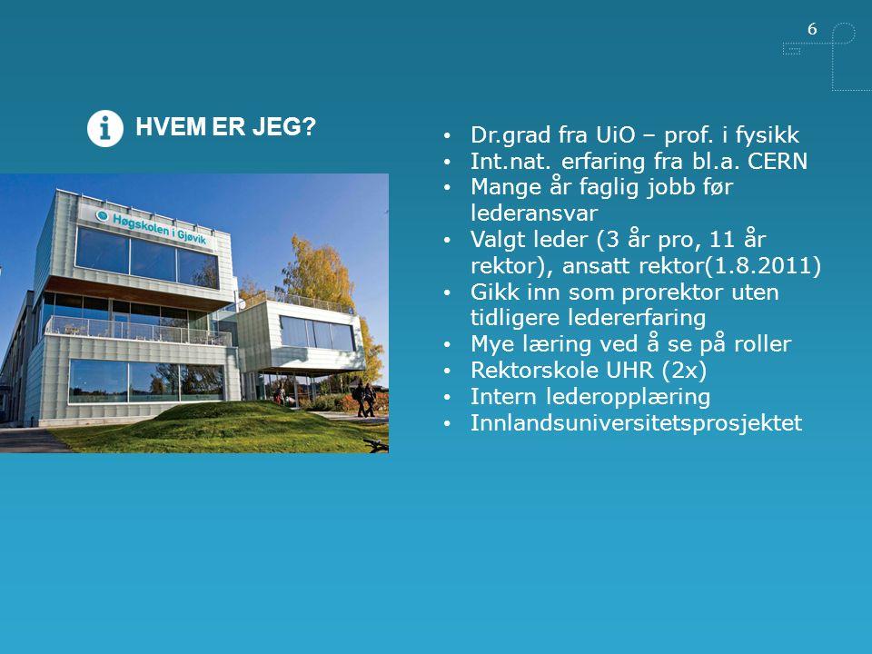 6 HVEM ER JEG. Dr.grad fra UiO – prof. i fysikk Int.nat.